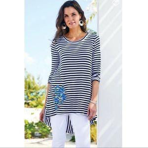 Soft Surroundings Amina Striped Tunic Size Large
